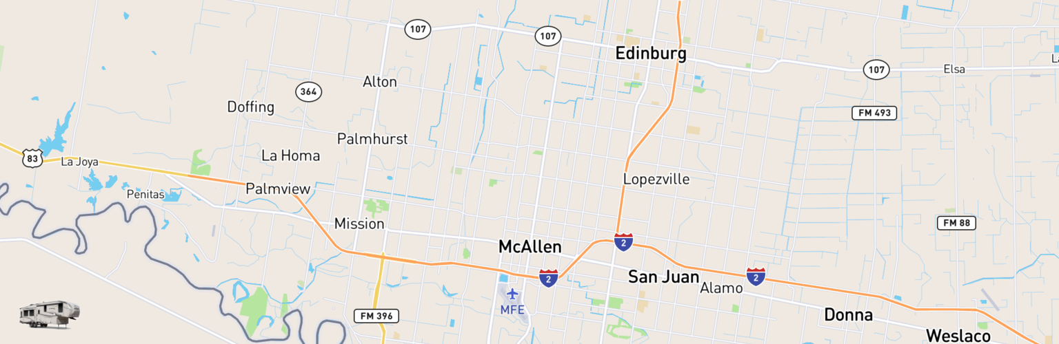 Fifth Wheel Rentals Map Mcallen Edinburg, TX