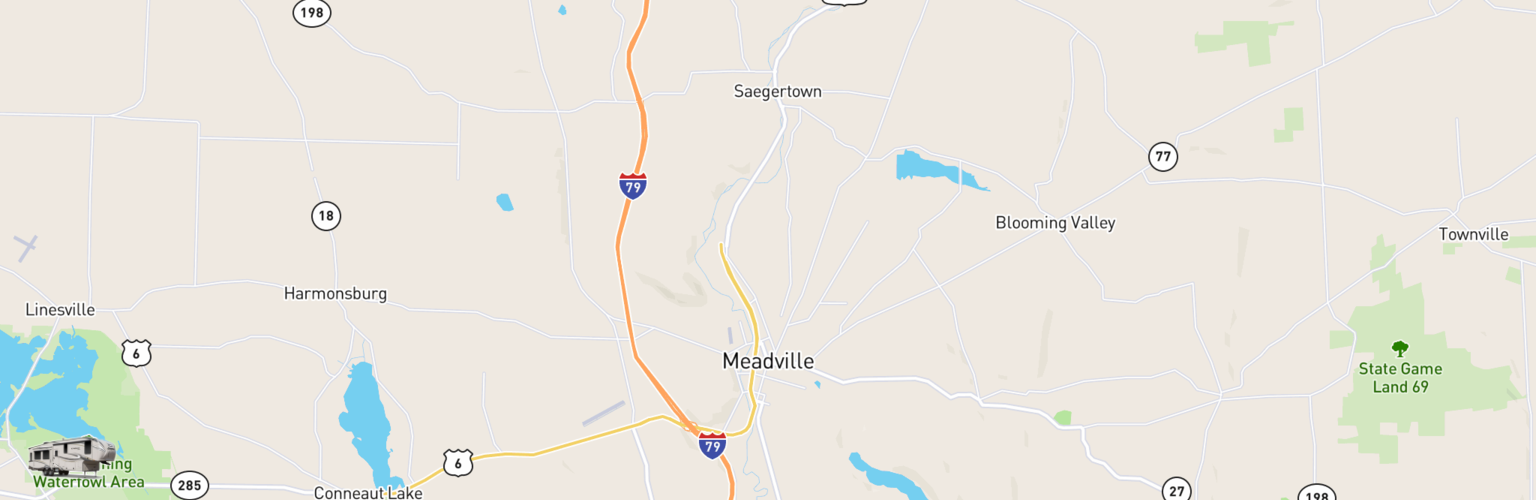 Fifth Wheel Rentals Map Meadville, PA