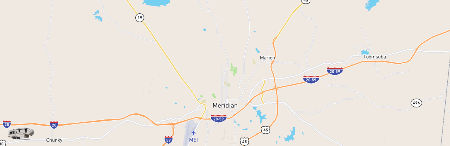Fifth Wheel Rentals Map Meridian, MS