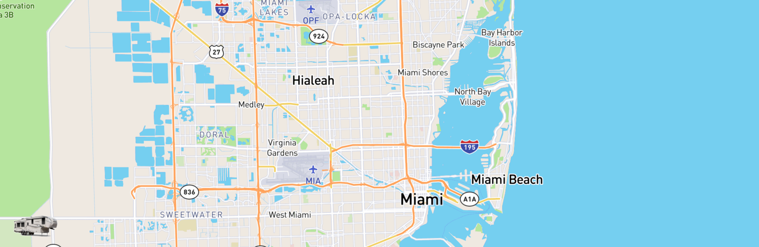 Fifth Wheel Rentals Map Miami, FL