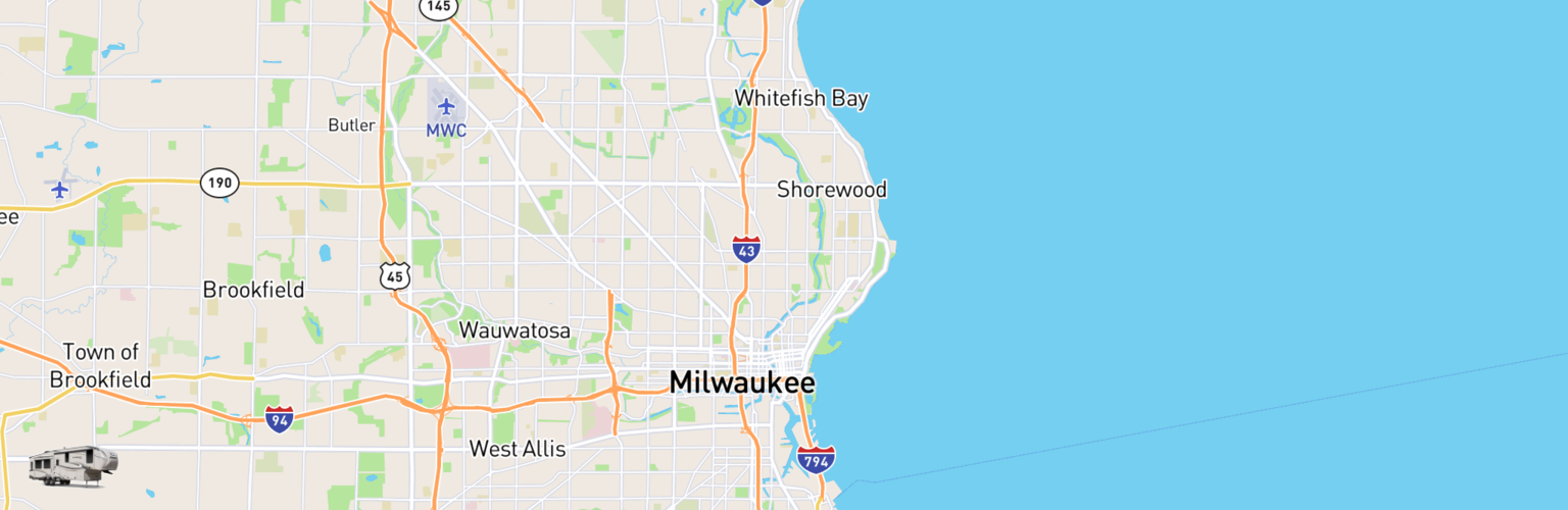 Fifth Wheel Rentals Map Milwaukee, WI