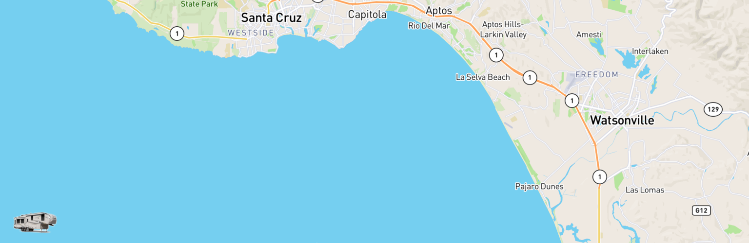 Fifth Wheel Rentals Map Monterey Bay, CA