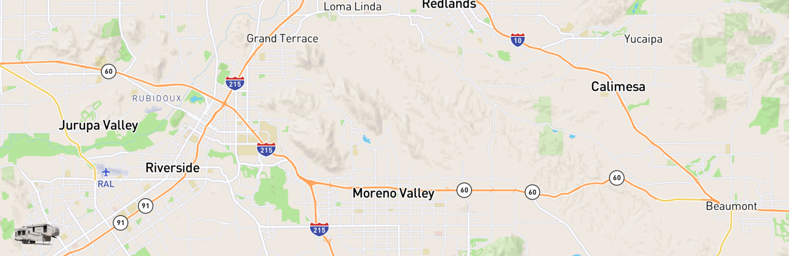 Fifth Wheel Rentals Map Moreno Valley, CA