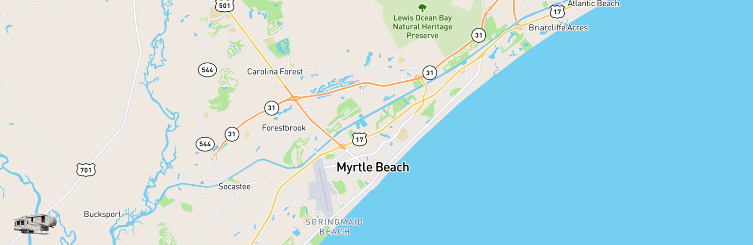 Fifth Wheel Rentals Map Myrtle Beach, SC