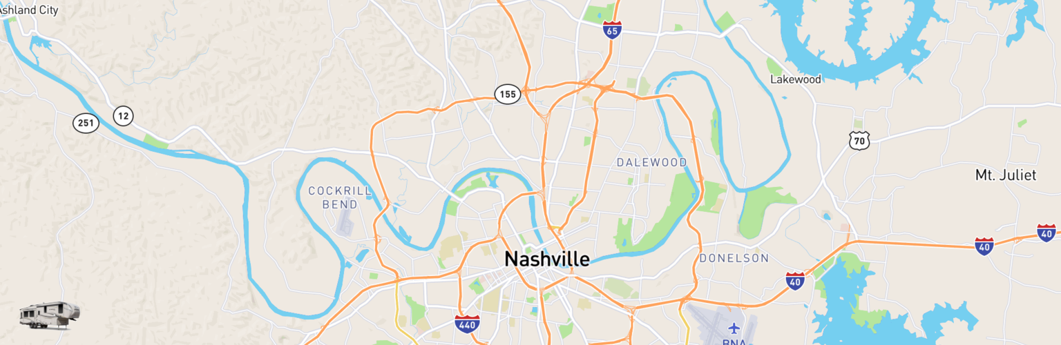 Fifth Wheel Rentals Map Nashville, TN