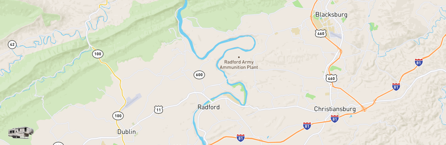 Fifth Wheel Rentals Map New River Valley, VA