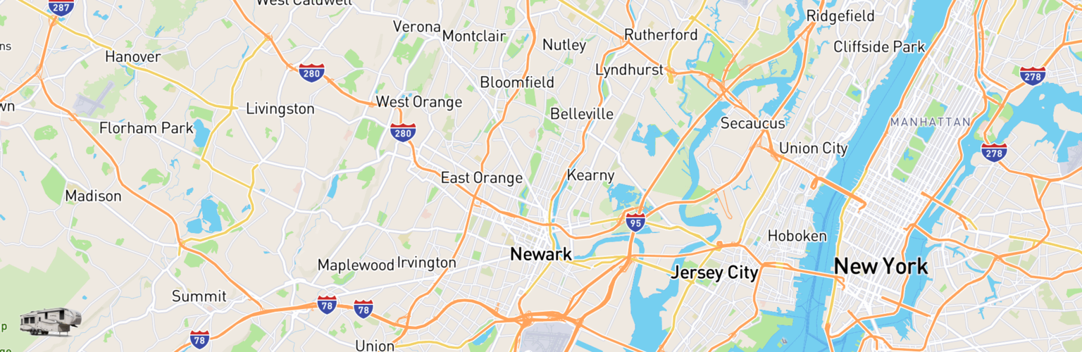 Fifth Wheel Rentals Map Newark, NJ
