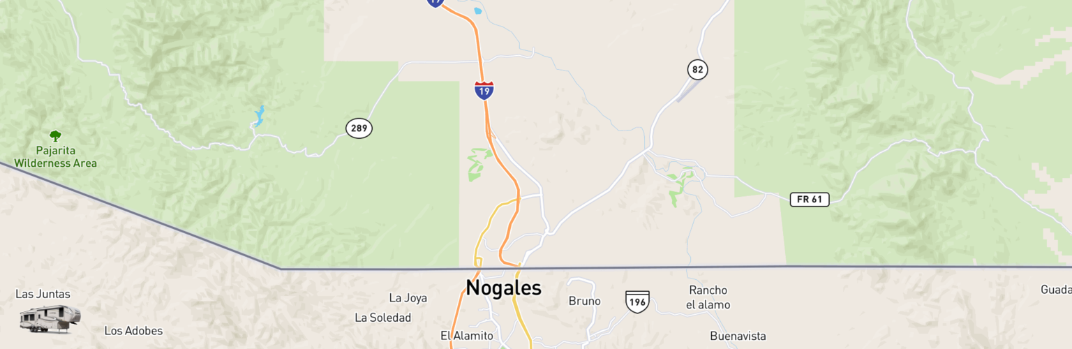 Fifth Wheel Rentals Map Nogales, AZ