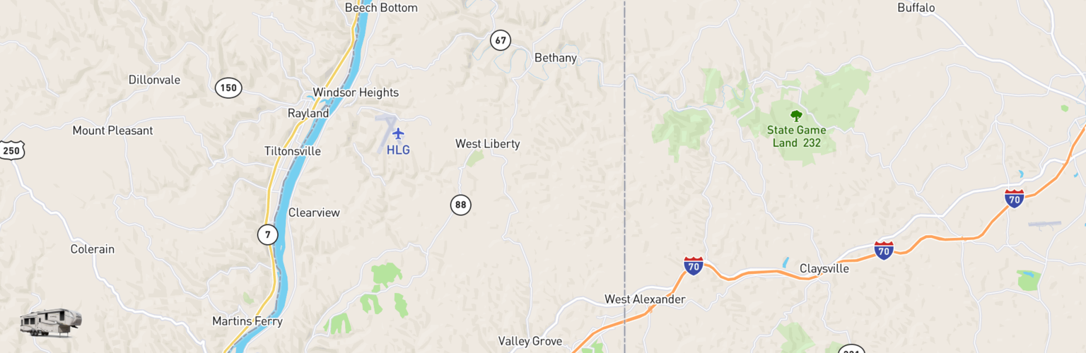 Fifth Wheel Rentals Map Northern Panhandle, WV