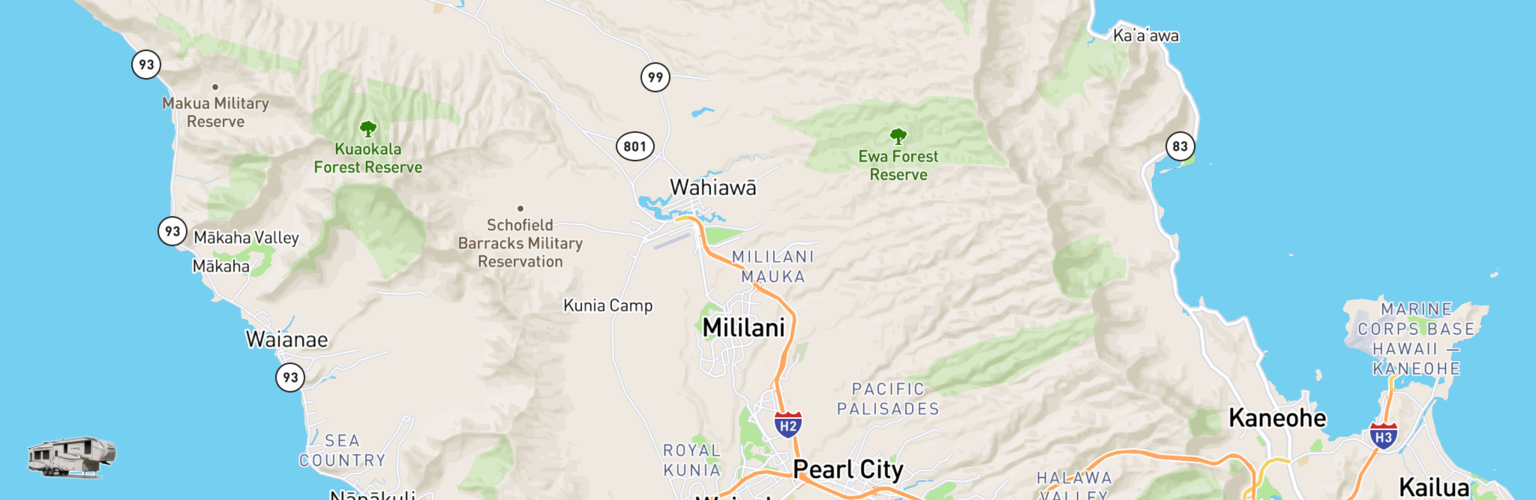 Fifth Wheel Rentals Map Oahu, HI