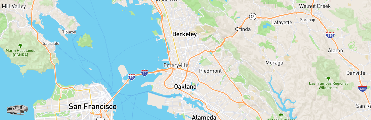 Fifth Wheel Rentals Map Oakland, CA