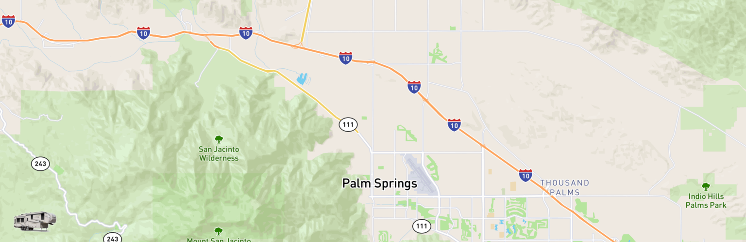 Fifth Wheel Rentals Map Palm Springs, CA