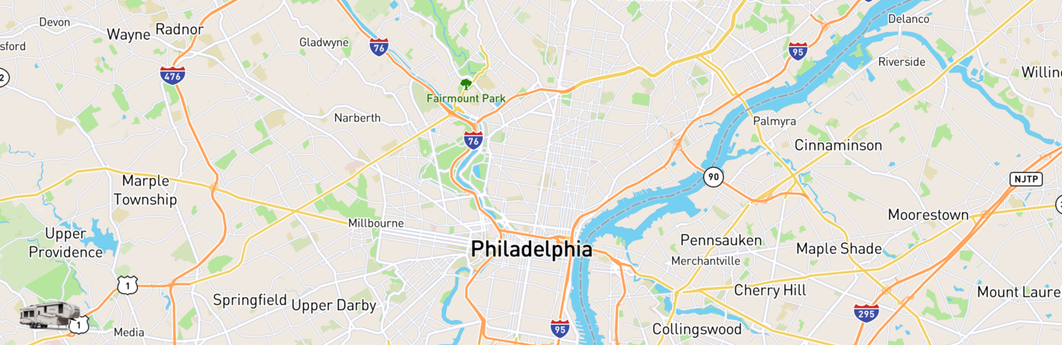 Fifth Wheel Rentals Map Philadelphia, PA