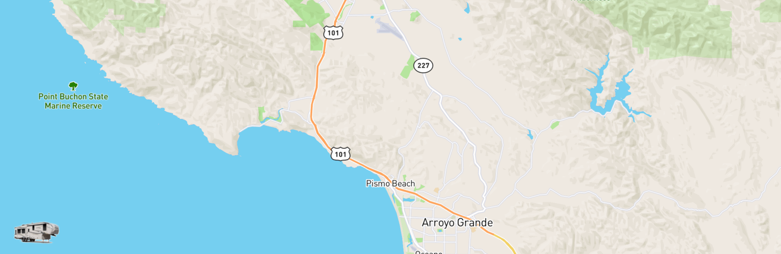 Fifth Wheel Rentals Map Pismo Beach, CA