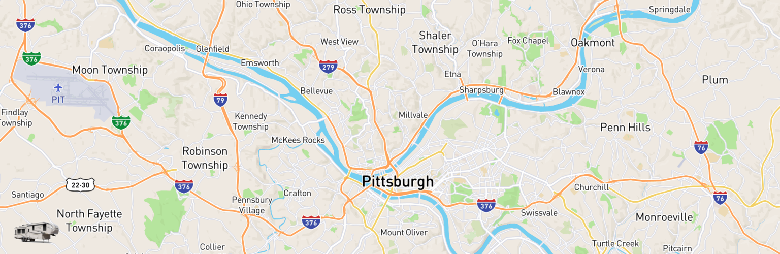 Fifth Wheel Rentals Map Pittsburgh, PA