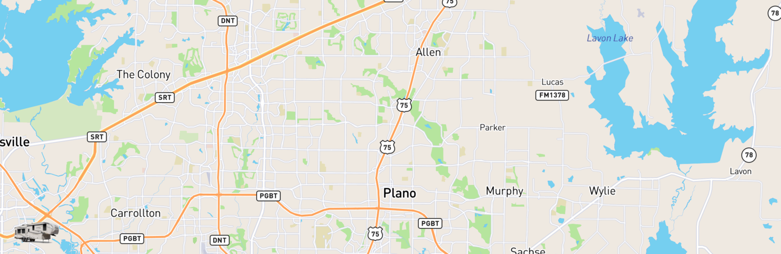 Fifth Wheel Rentals Map Plano, TX
