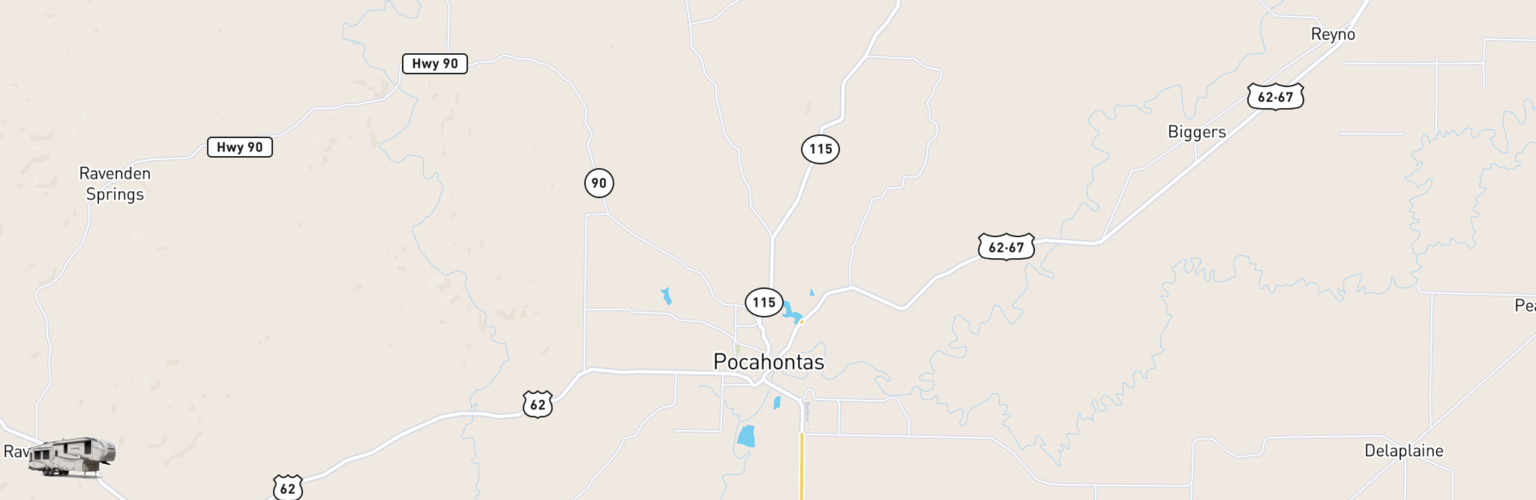 Fifth Wheel Rentals Map Pocahontas, AR