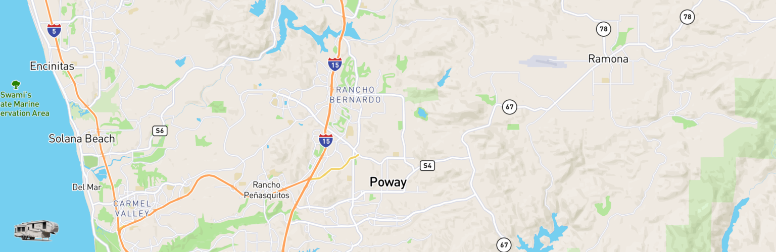 Fifth Wheel Rentals Map Poway, CA