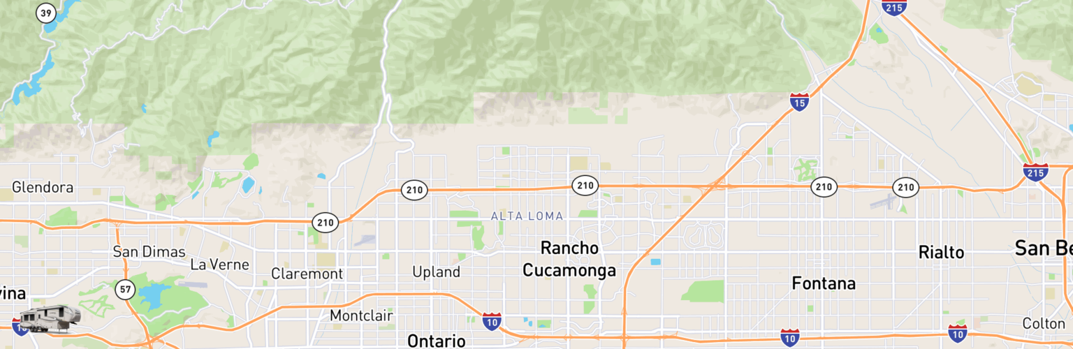 Fifth Wheel Rentals Map Rancho Cucamonga, CA