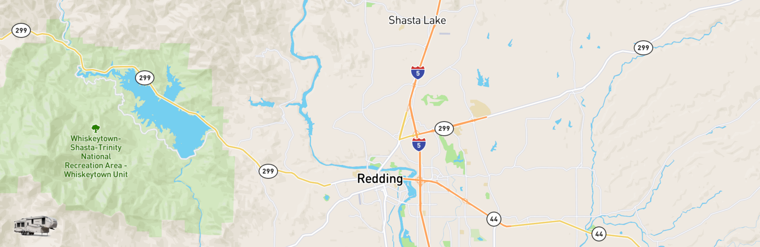 Fifth Wheel Rentals Map Redding, CA