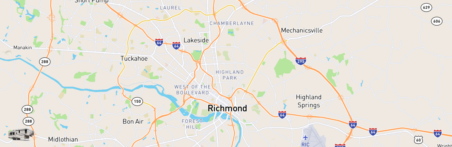 Fifth Wheel Rentals Map Richmond, VA