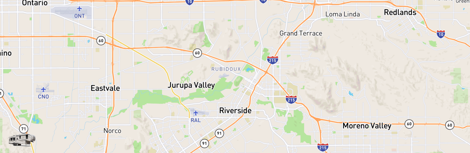 Fifth Wheel Rentals Map Riverside, CA