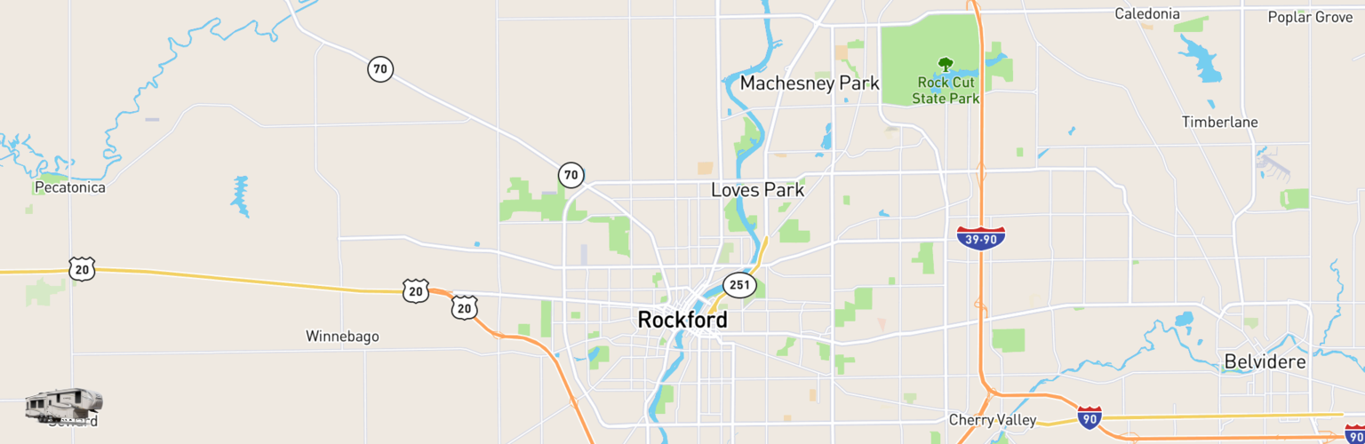 Fifth Wheel Rentals Map Rockford, IL