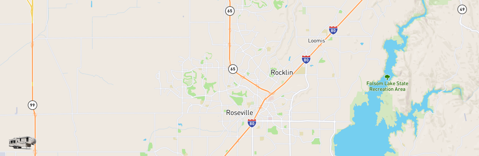 Fifth Wheel Rentals Map Roseville, CA