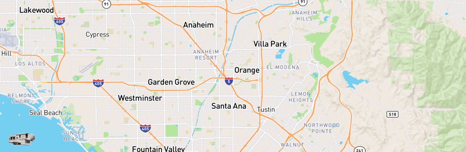 Fifth Wheel Rentals Map Santa Ana, CA