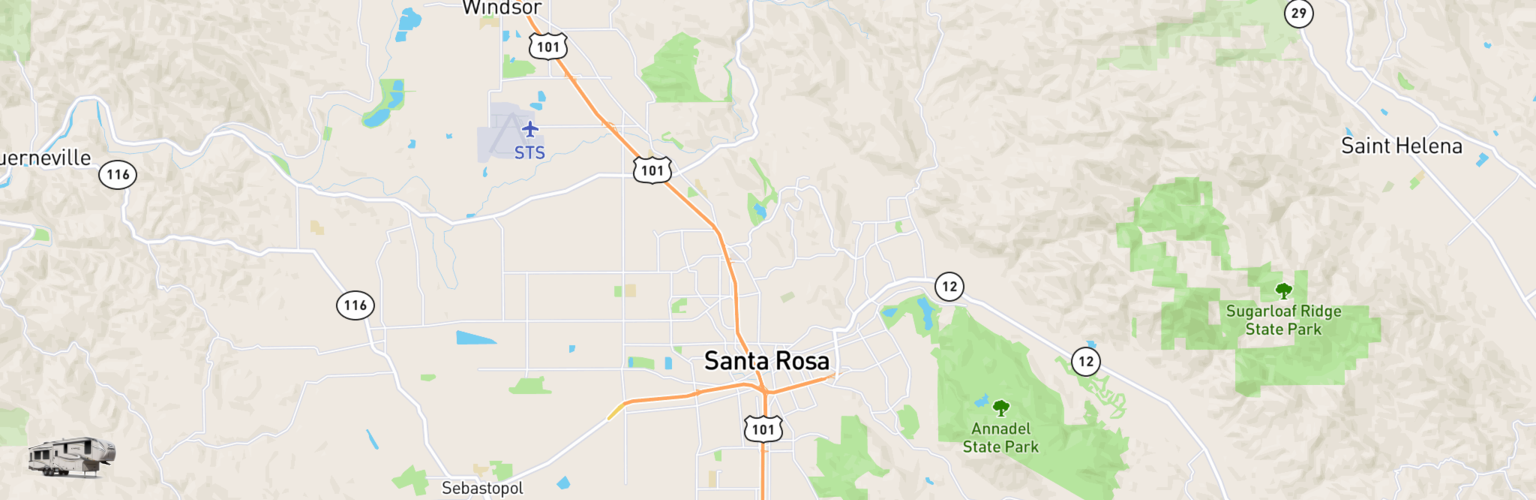 Fifth Wheel Rentals Map Santa Rosa, CA