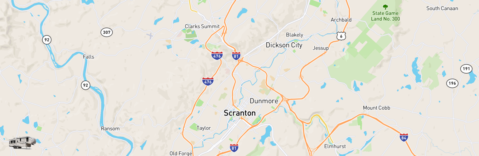 Fifth Wheel Rentals Map Scranton, PA
