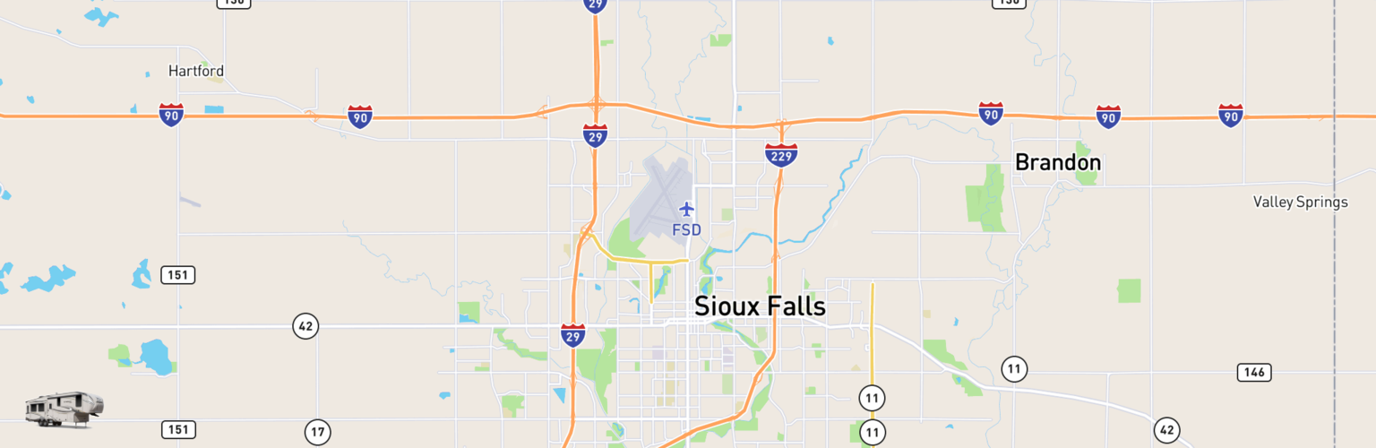 Fifth Wheel Rentals Map Sioux Falls, SD
