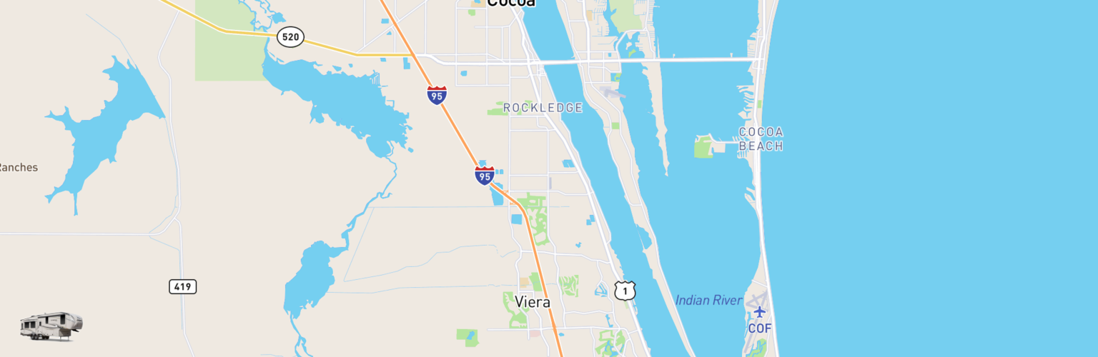 Fifth Wheel Rentals Map Space Coast, FL