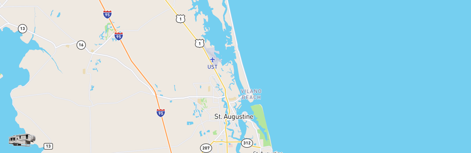Fifth Wheel Rentals Map St Augustine, FL