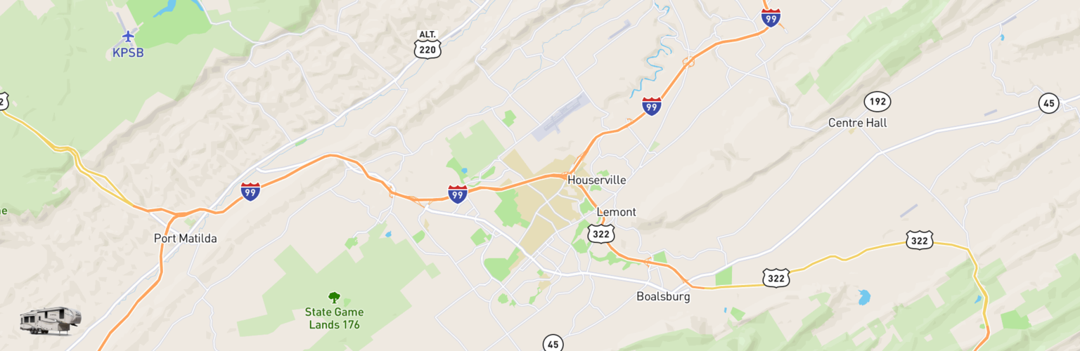Fifth Wheel Rentals Map State College, PA
