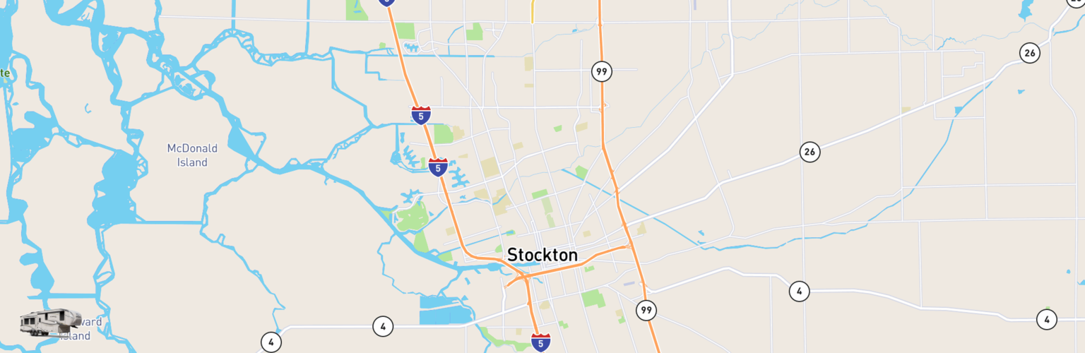 Fifth Wheel Rentals Map Stockton, CA