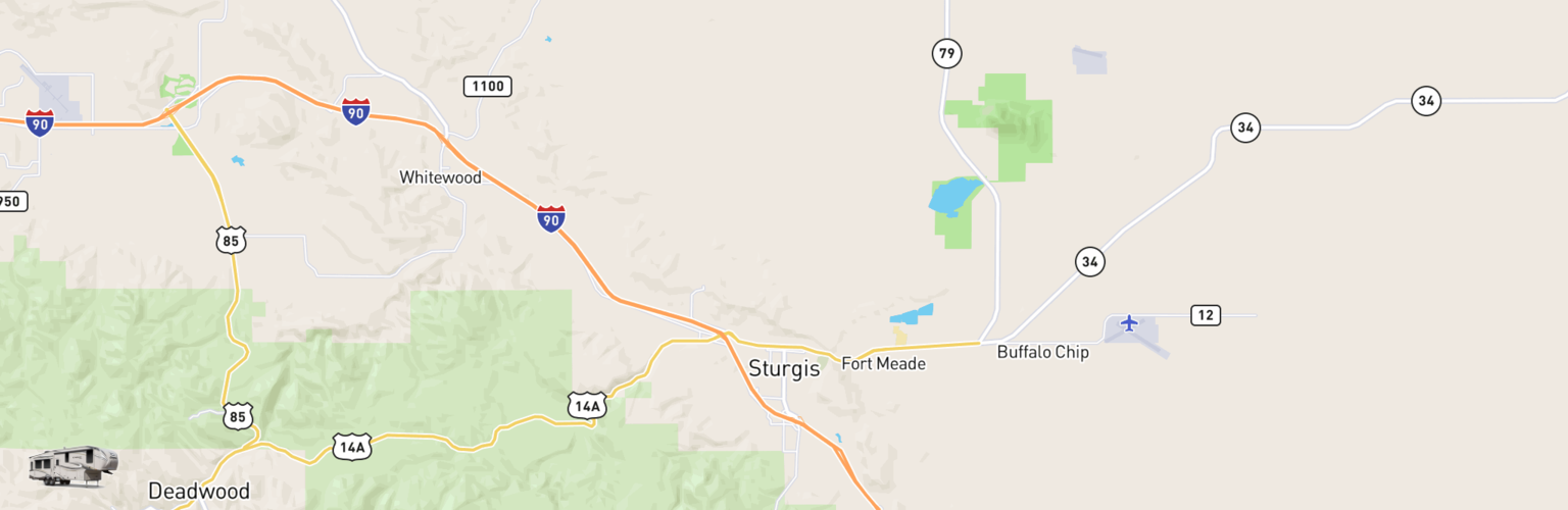 Fifth Wheel Rentals Map Sturgis, SD