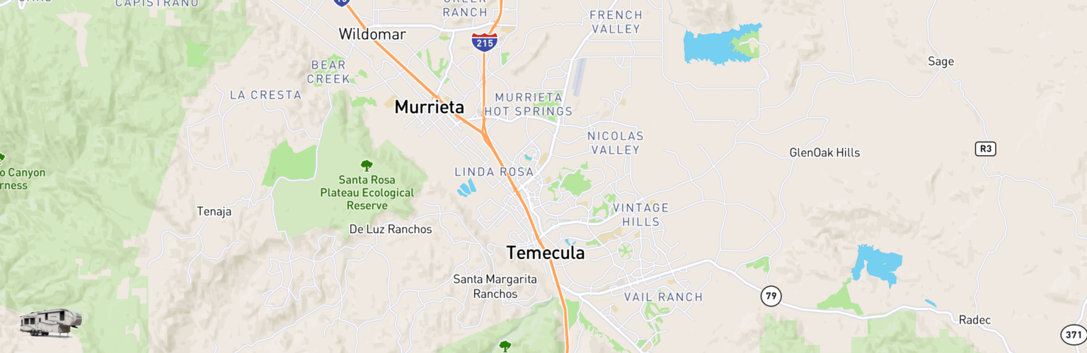 Fifth Wheel Rentals Map Temecula, CA