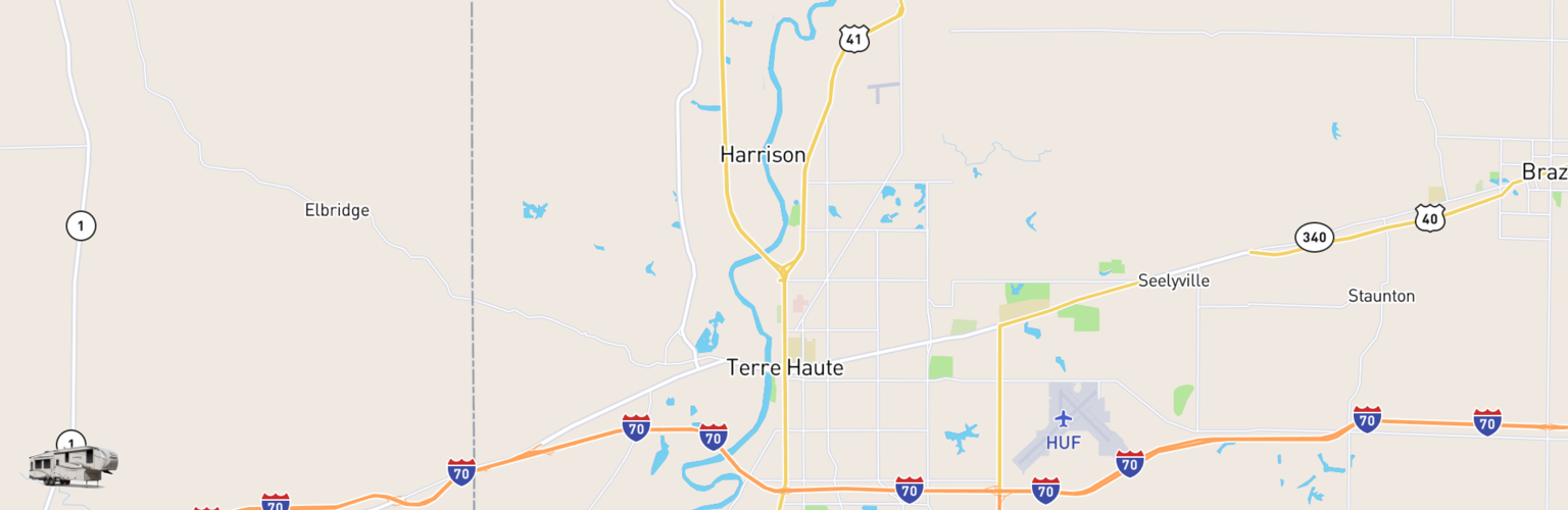 Fifth Wheel Rentals Map Terre Haute, IN