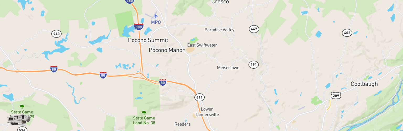 Fifth Wheel Rentals Map The Poconos, PA