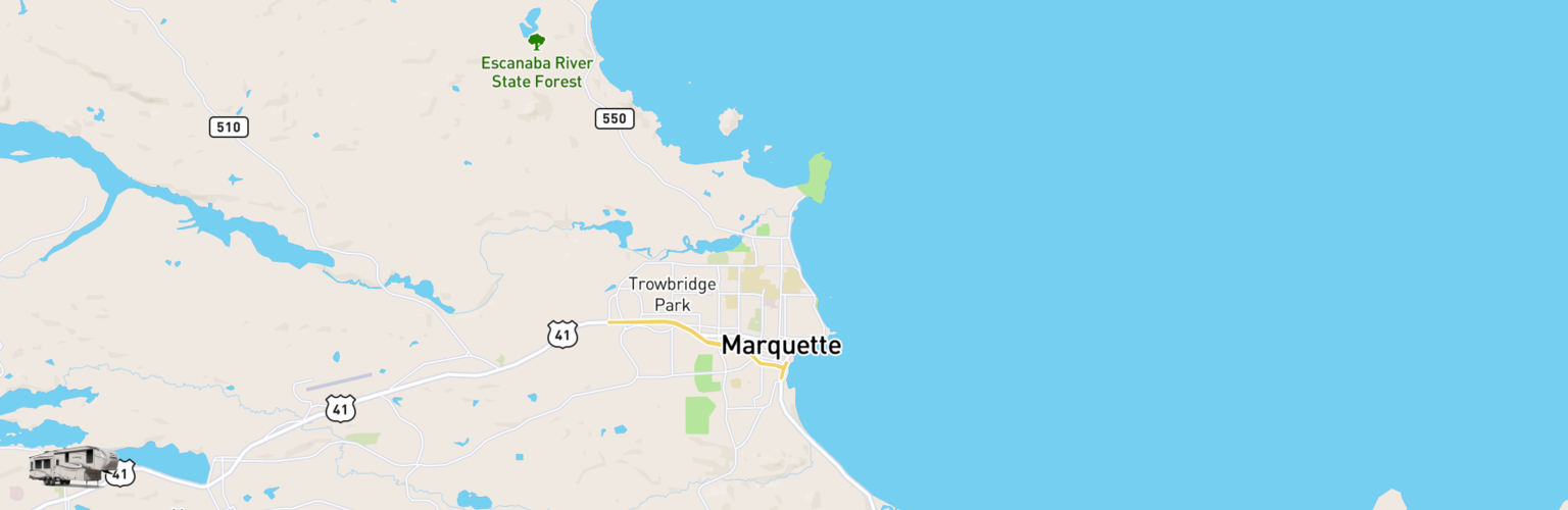 Fifth Wheel Rentals Map Upper Peninsula, MI