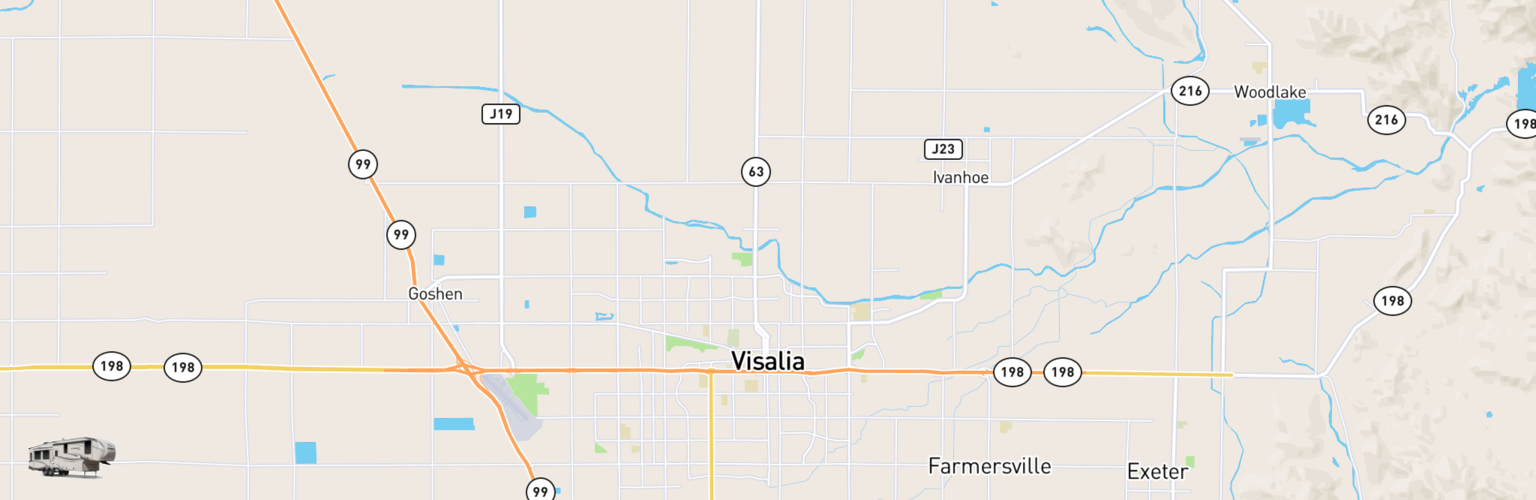 Fifth Wheel Rentals Map Visalia, CA