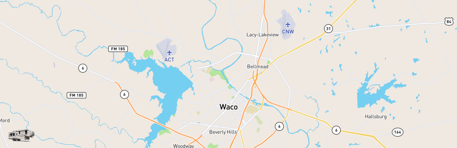 Fifth Wheel Rentals Map Waco, TX