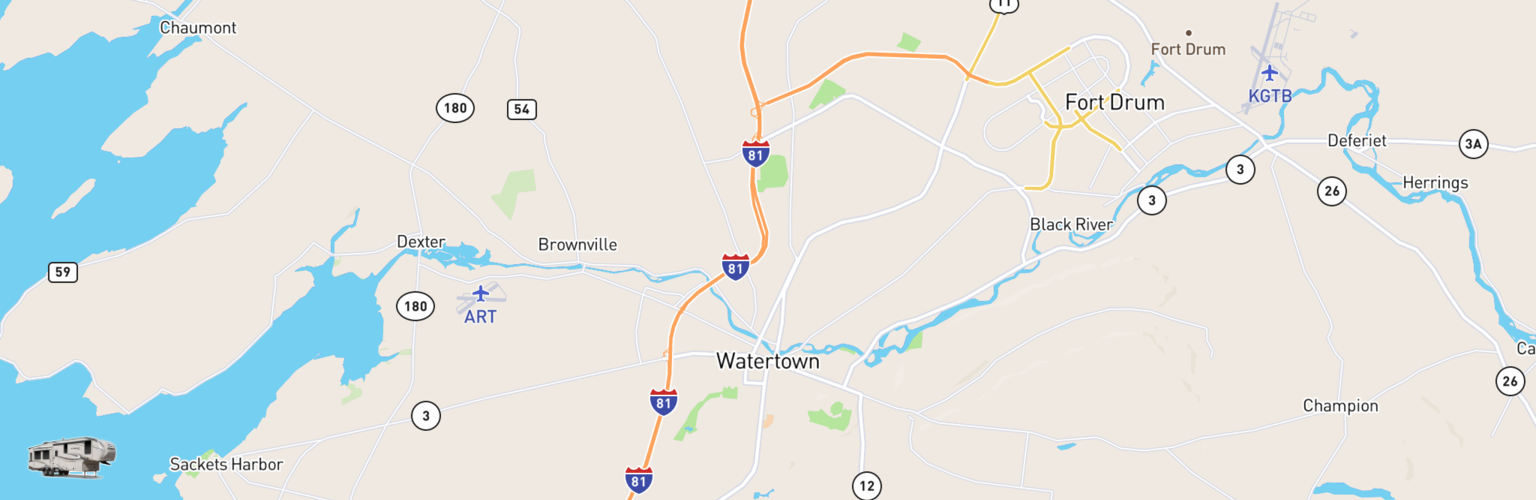 Fifth Wheel Rentals Map Watertown, NY