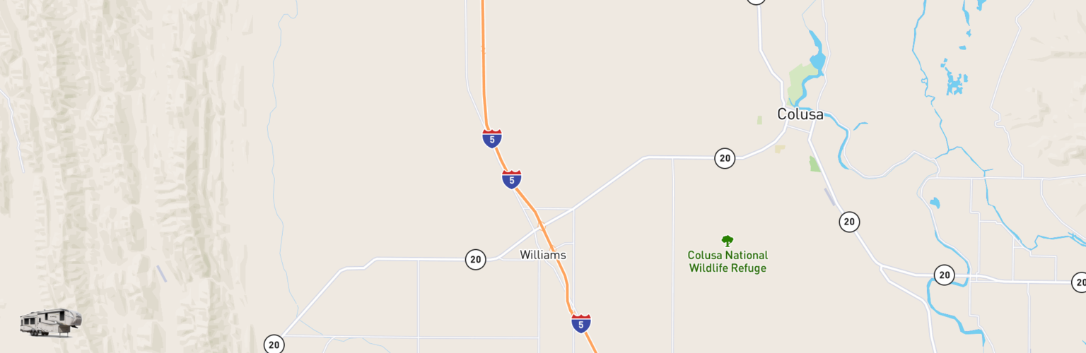 Fifth Wheel Rentals Map Williams, CA
