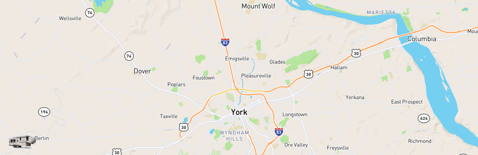 Fifth Wheel Rentals Map York, PA