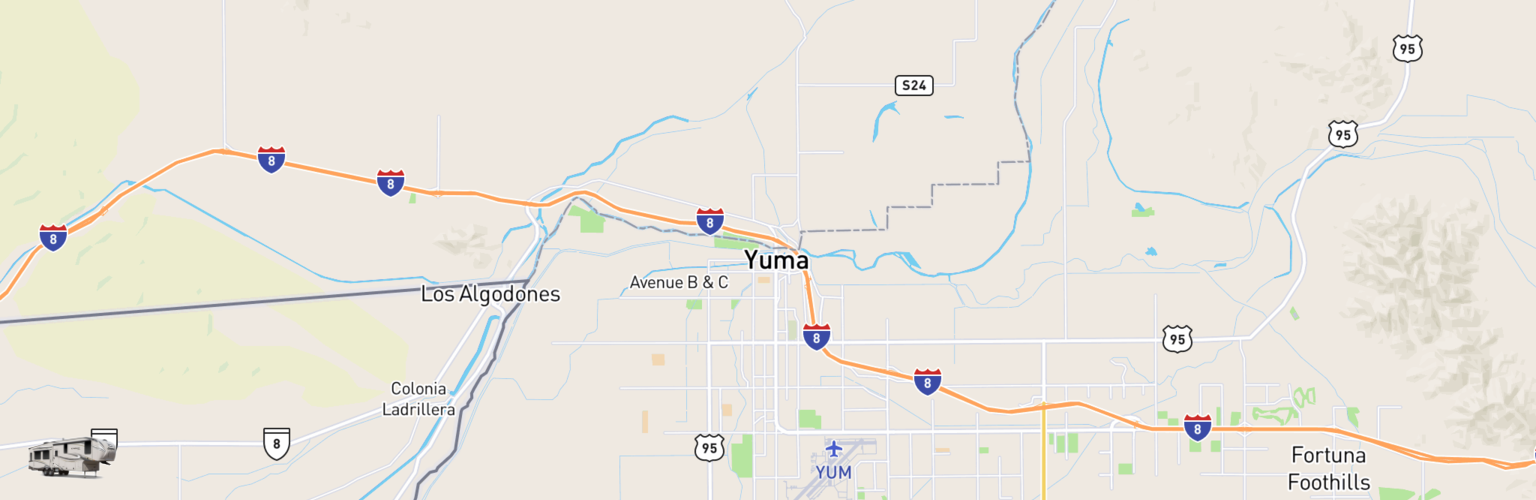 Fifth Wheel Rentals Map Yuma, AZ