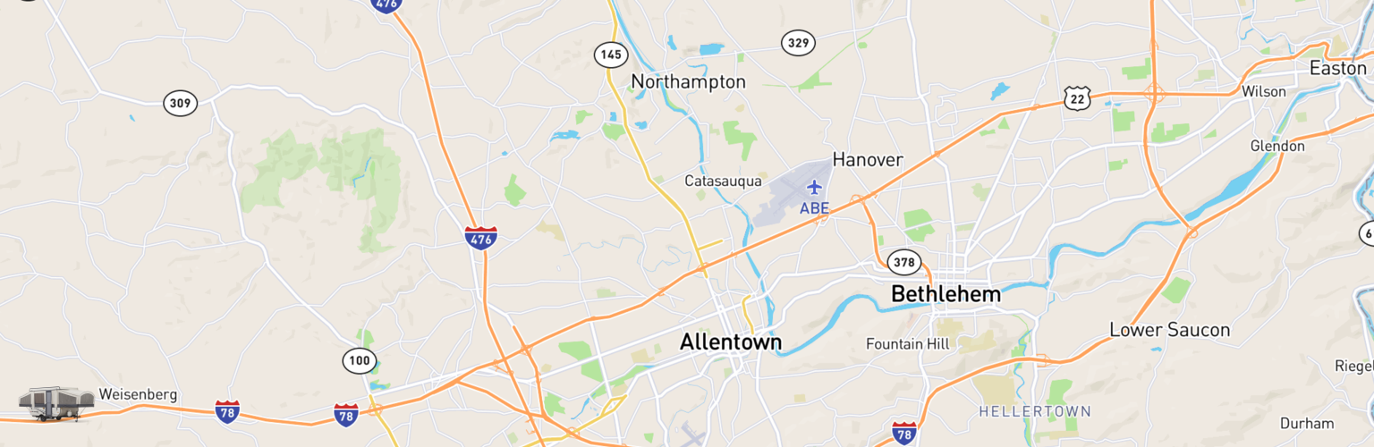 Pop Up Rentals Map Allentown, PA