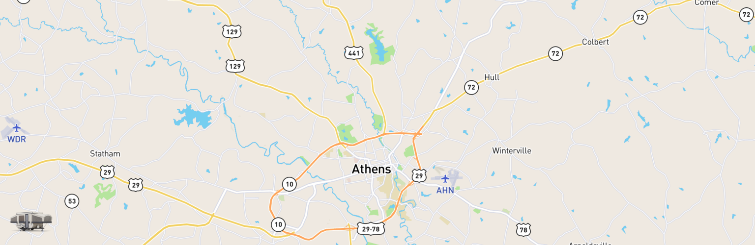 Pop Up Rentals Map Athens, GA