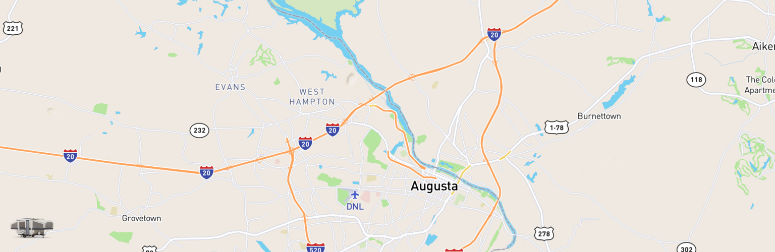 Pop Up Rentals Map Augusta, GA